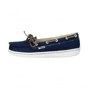 Moka Denim Lame Canvas Deck Shoe