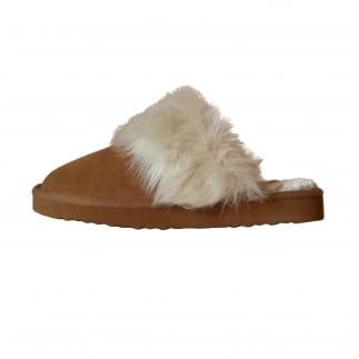 Valdaora Ladies Toast Suede Fur Lined Slipper