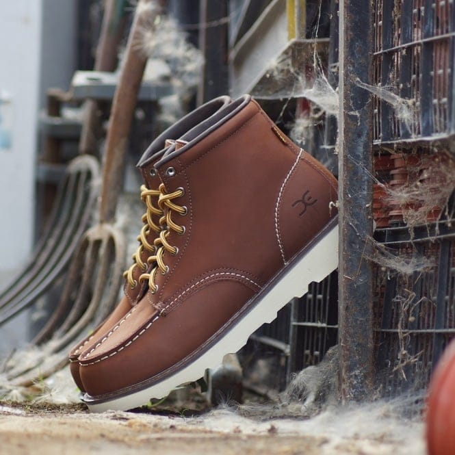 comfortable brown leather moc toe boots