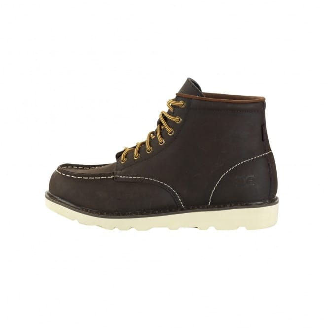 Dude Shoes Rocca Dark Brown Leather Moc Toe Boots