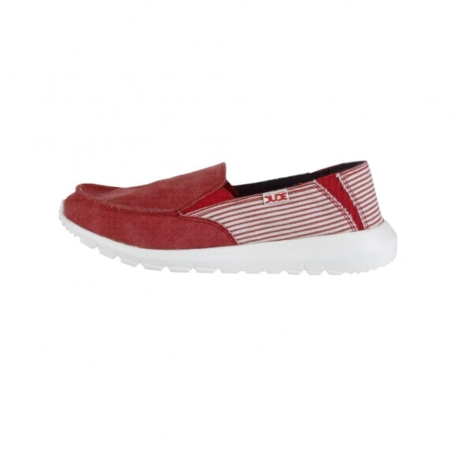 Dude Shoes Ava Red Stripe Slip On