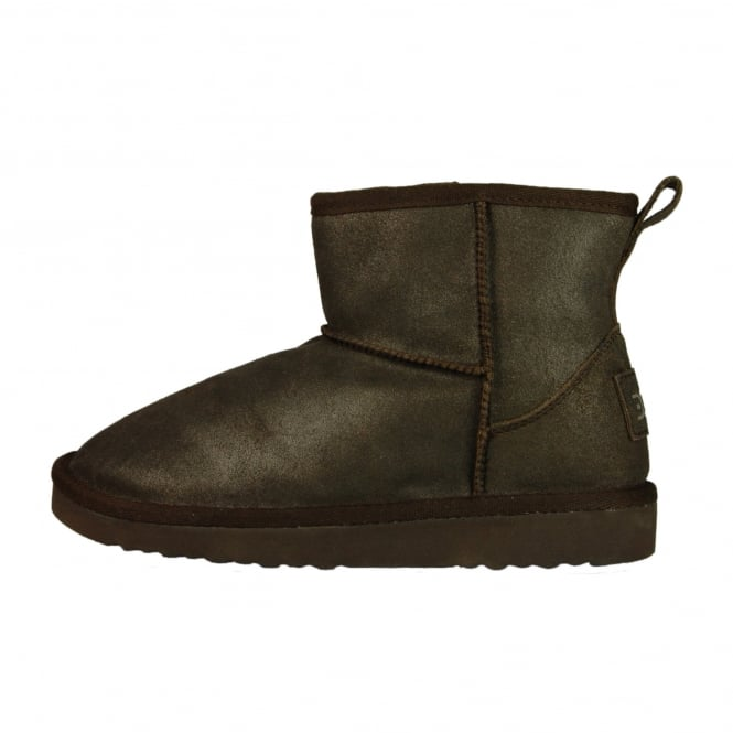 Dude Shoes Sella Ladies Boot Bronze Lame Suede