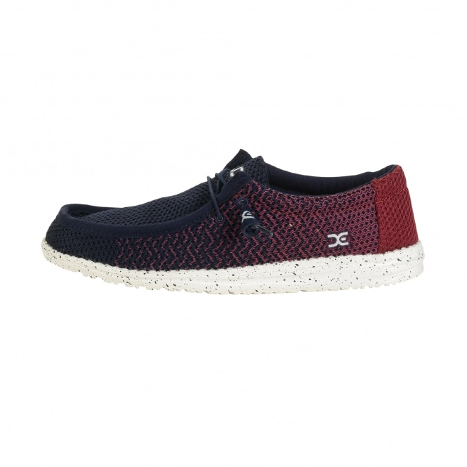 Dude Shoes Wally Mesh Navy / Red Gradient