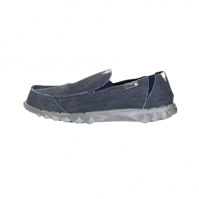 Dude Shoes Farty Classic Navy Stonewash Slip On / Mule