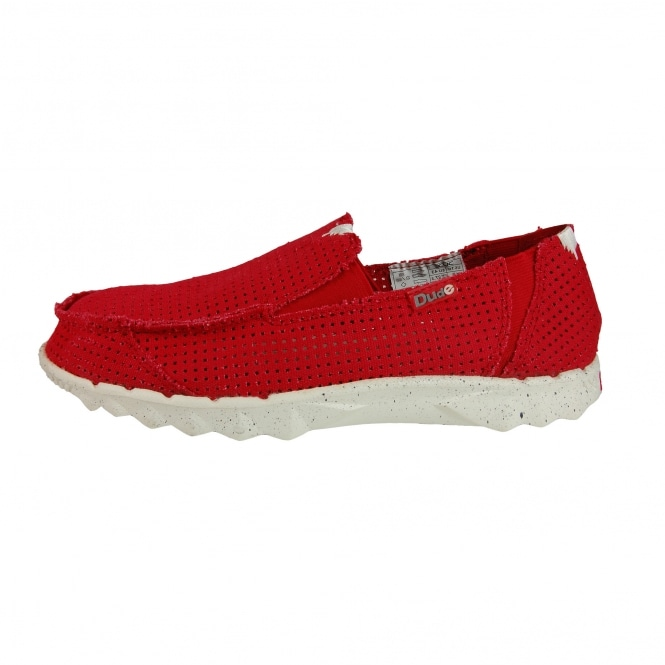 Dude Shoes Dude Farty Post Sport Perforated Canvas Red