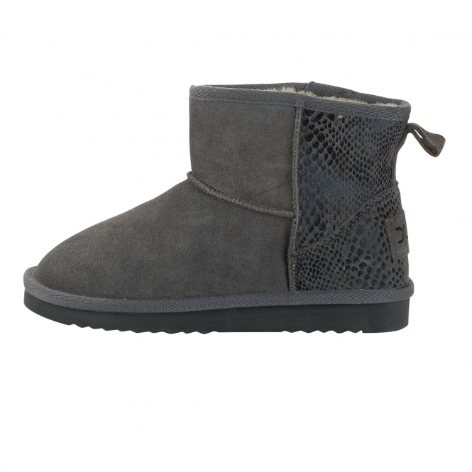 Dude Shoes Sella Ladies Boot Piton Charcoal Suede