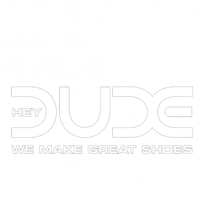Dude Shoes Straight White Logo Window Sticker 20cm x 7.5cm