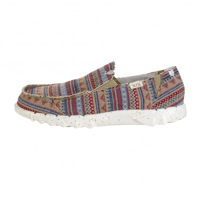 Dude Shoes Farty Print Etno Beige Slip On / Mule