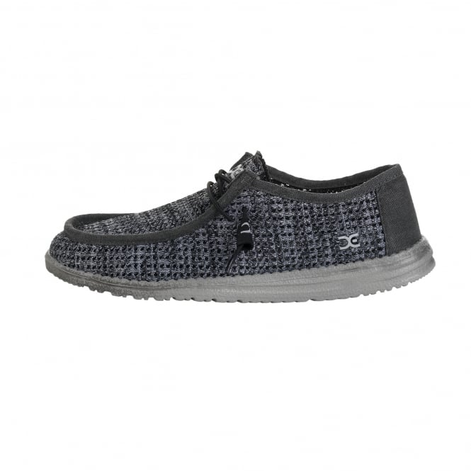 Hey Dude Shoes Wally Sox Perforated Black Grey 5680c6585a