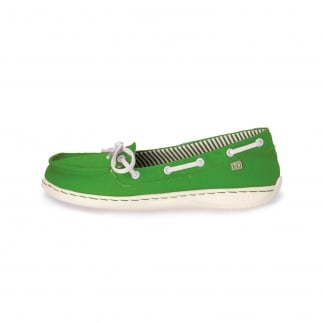 green canvas women's boat shoes