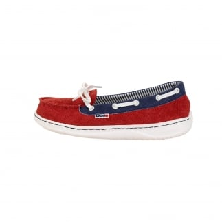 red women's boat shoes